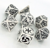 White & Black Tribal Dice Set